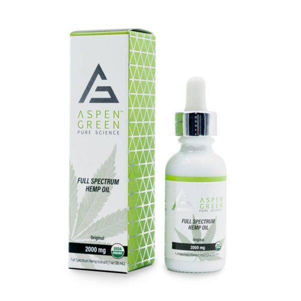 Aspen Green USDA Certified - 2000mg Full Spectrum Hemp Oil with box