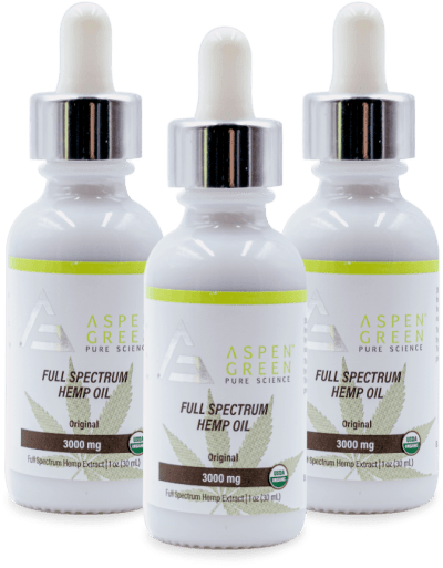3 Pack of Aspen Green's 3000mg Full Spectrum Hemp Oil