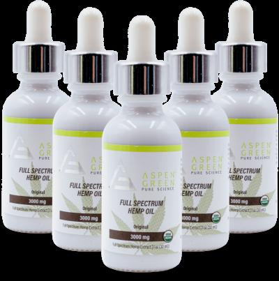 5 Pack of Aspen Green's 3000mg Full Spectrum Hemp Oil