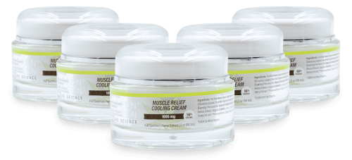 5 pack of Aspen Green's 1000mg Muscle Relief Cooling Cream