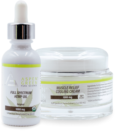 Aspen Green's 3000mg Full Spectrum Hemp Oil and 1000mg Muscle Relief Cooling Cream