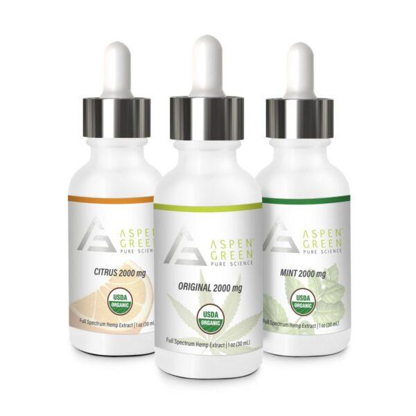 Aspen Green's 2000mg Full Spectrum Hemp Extract Flavors