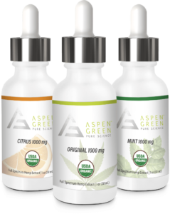 Aspen Green's 1000mg Full Spectrum Hemp Extract Flavors
