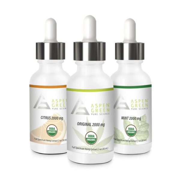 Aspen Green's 2000mg Full Spectrum Hemp Extract Flavors (CBD oils)